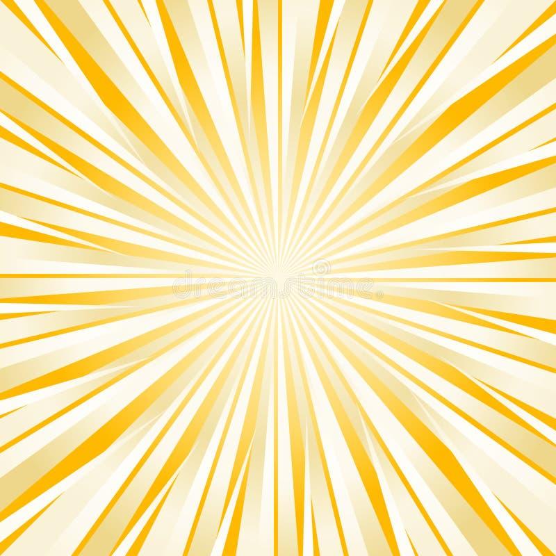 O branco amarelo brilhante duro abstrato irradia o fundo Vetor ilustração stock