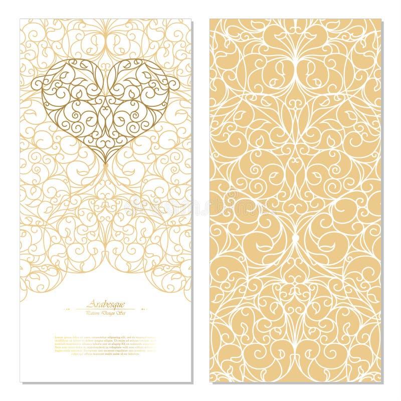 O branco do elemento do Arabesque e o fundo orientais do ouro cardam o templat ilustração royalty free