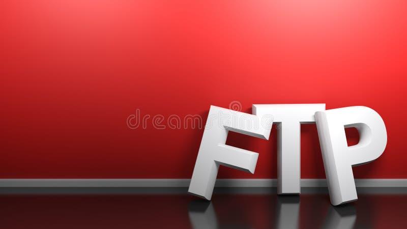 O branco do ftp escreve na parede vermelha - rendição 3D ilustração royalty free