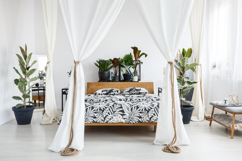 O branco drapeja no quarto brilhante fotos de stock