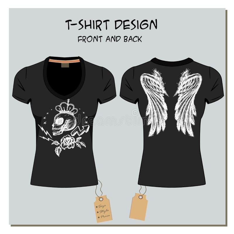 O branco e o preto projetam os t-shirt da menina, com a etiqueta, vetor ilustração do vetor