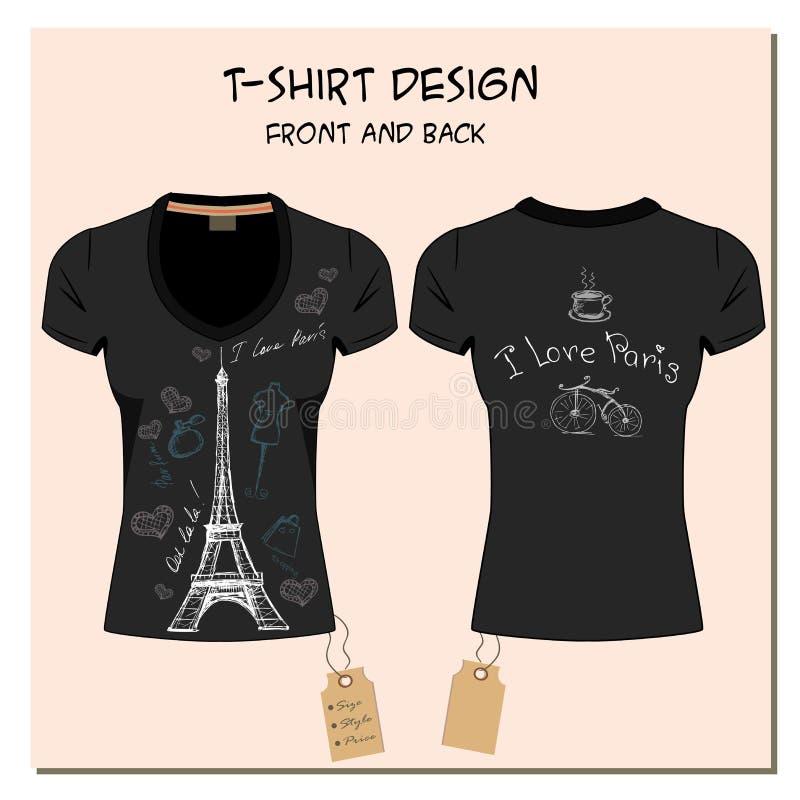 O branco e o preto projetam os t-shirt da menina, com a etiqueta, vetor ilustração stock
