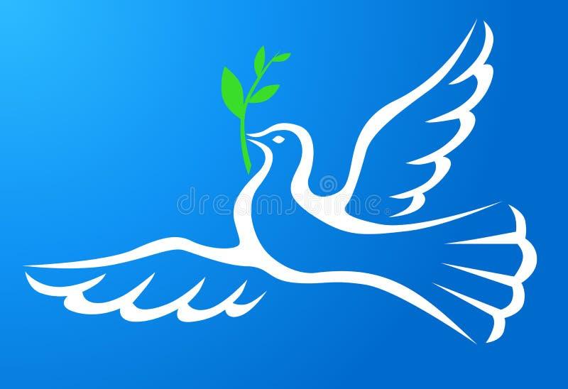 O branco mergulhou com ramo no céu azul ilustração stock