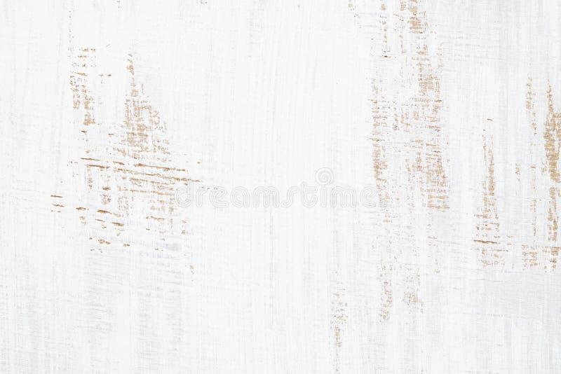 O branco pintou o fundo oxidado sem emenda do grunge da textura de madeira, riscou a pintura branca em pranchas da parede de made fotos de stock