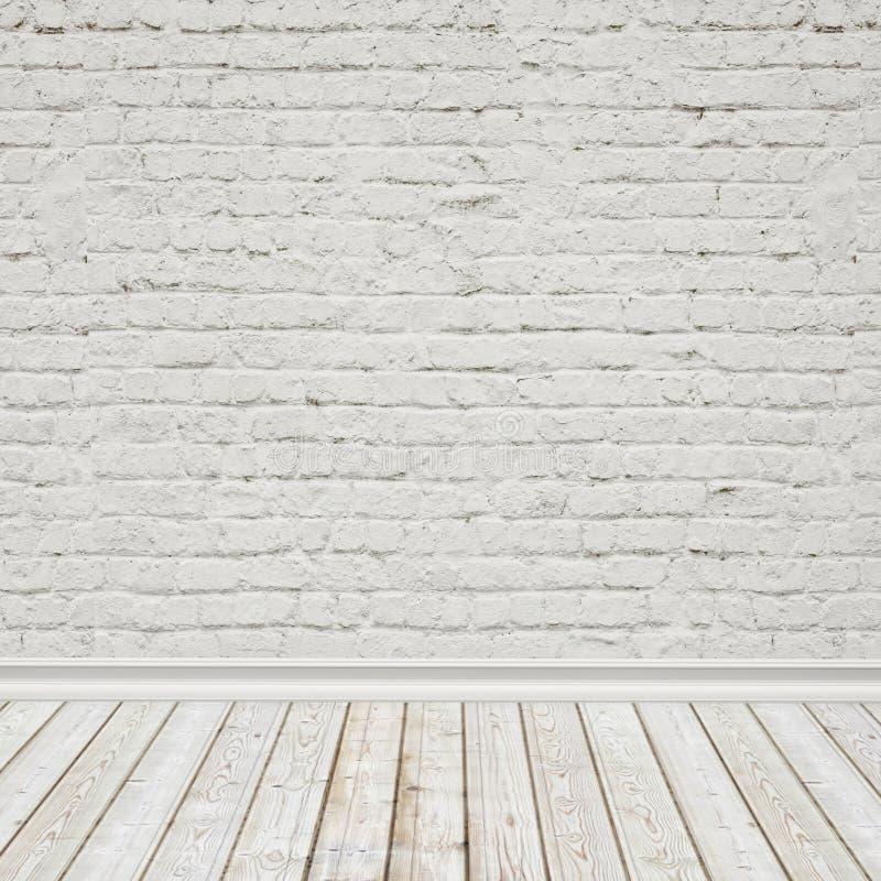 O branco pintou a parede de tijolo e o assoalho de madeira do vintage, fundo interior foto de stock royalty free