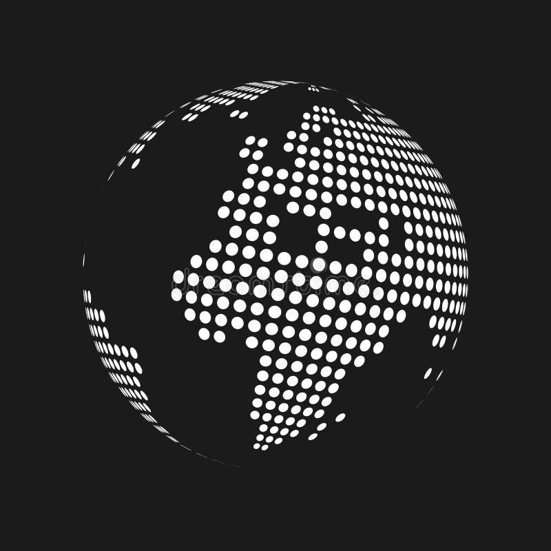 O branco pontilhou o globo do mapa do mundo da terra 3d no fundo preto Ilustração do vetor ilustração stock