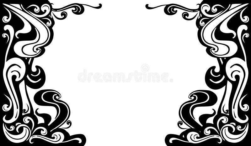 O branco preto decorativo floresce beiras ilustração do vetor