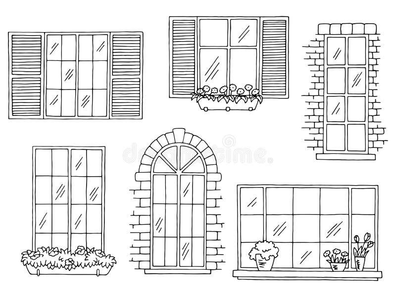 O branco preto gráfico ajustado de Windows isolou a ilustração do esboço ilustração do vetor