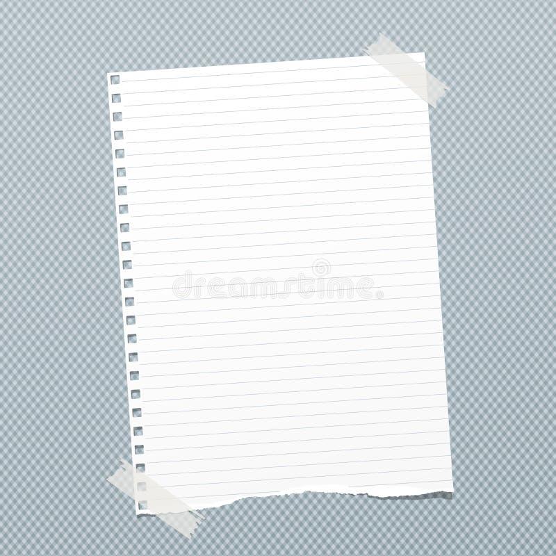 O branco rasgado alinhou a nota, folha de papel do caderno para o texto colado com a fita pegajosa no fundo esquadrado azul ilustração stock