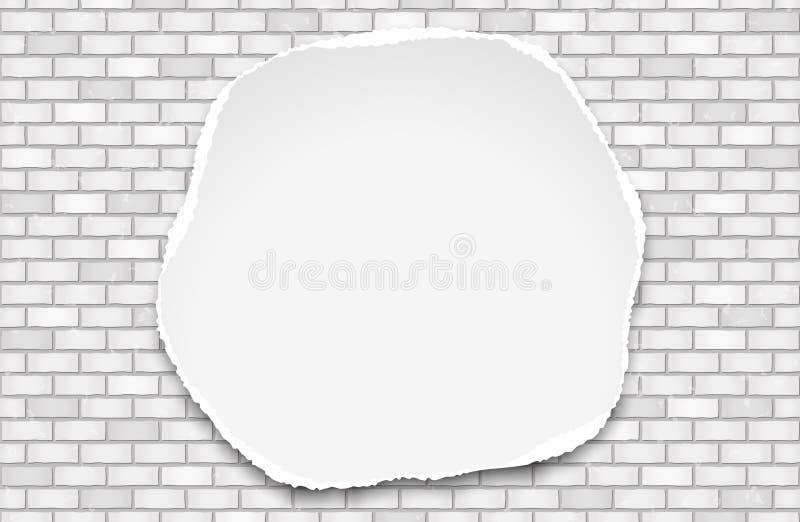 O branco rasgou-se em volta do papel de nota para o texto ou da mensagem no fundo da parede de tijolo ilustração royalty free