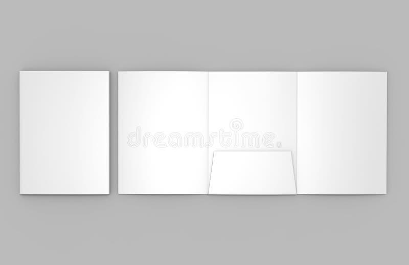 O branco vazio dobrável em três partes reforçou o único catálogo do dobrador do bolso A4 no fundo cinzento para a zombaria acima  ilustração stock