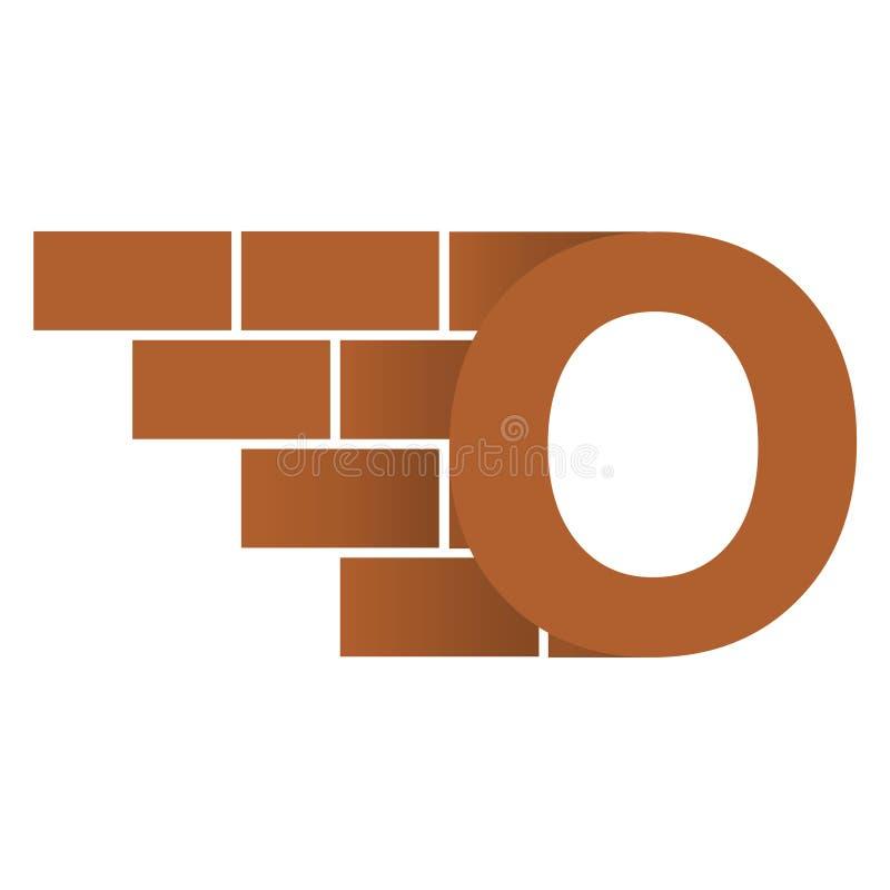 O brievenembleem, het ontwerp van het bakstenen muurembleem met plaats voor uw gegevens stock illustratie