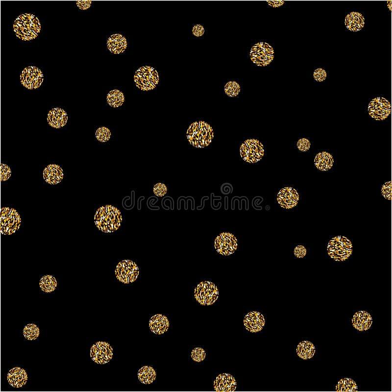O brilho abstrato do ponto do ouro do vetor textured o fundo dos círculos ilustração royalty free