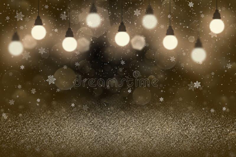 O brilho brilhante bonito alaranjado ilumina fundo defocused do sumário do bokeh com ampolas e os flocos de queda da neve voam, f ilustração stock