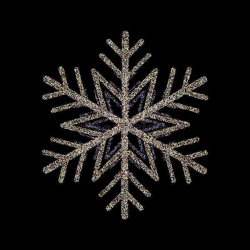O brilho cobriu o cartão do floco de neve do ouro, o ano novo feliz do convite e o Natal Ilustração do vetor ilustração royalty free