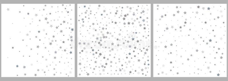 O brilho de prata stars a queda do céu no fundo branco abstraia o fundo Teste padrão do brilho para a bandeira Vetor ilustração royalty free