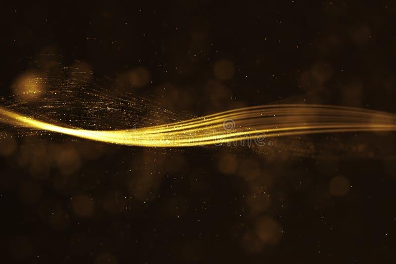 O brilho digital do quadro abstrato da rendição 3D acende partic dourado ilustração royalty free