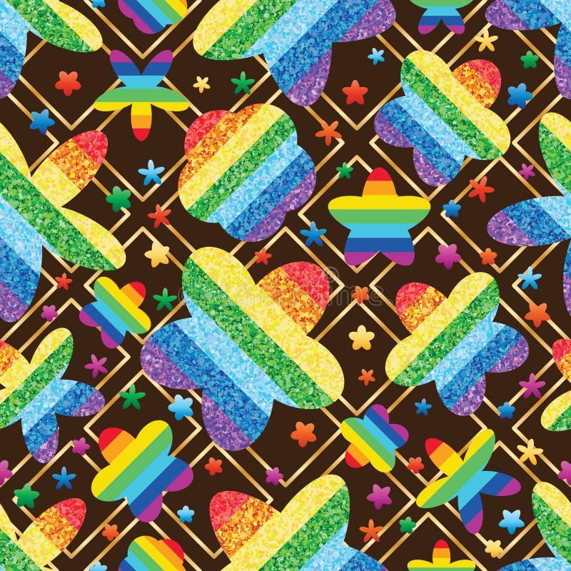 O brilho do arco-íris da flor gerencie o teste padrão sem emenda da forma do diamante ilustração do vetor