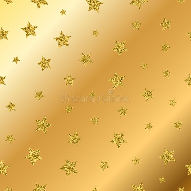 O brilho dourado do vetor stars o teste padrão sem emenda ilustração do vetor