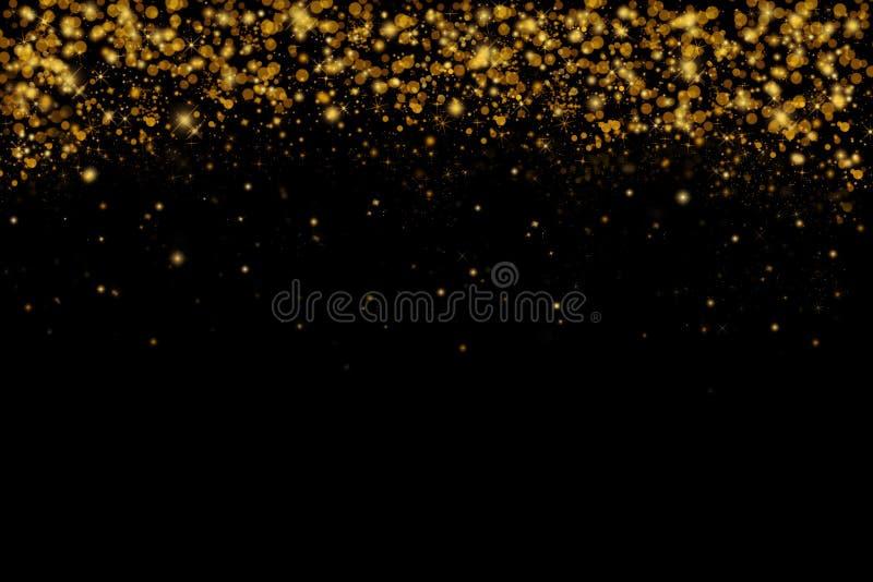 O brilho dourado sparkles no fundo preto, brilhando, quadro ilustração do vetor