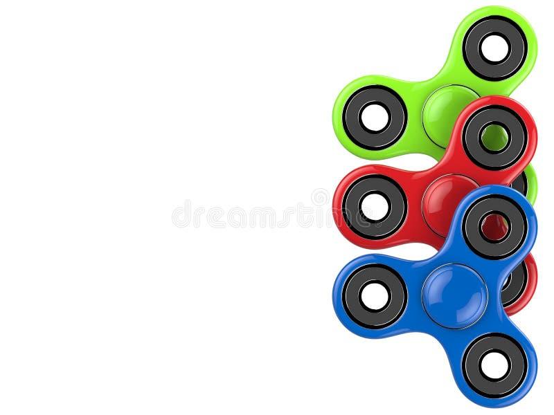 O brinquedo colorido do alívio de esforço dos giradores da inquietação no branco isolou o fundo ilustração 3D ilustração royalty free