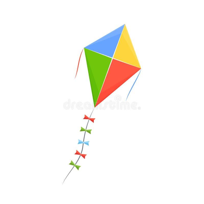 O brinquedo colorido moderno das crianças s no formulário coloriu o papagaio na corda ilustração stock