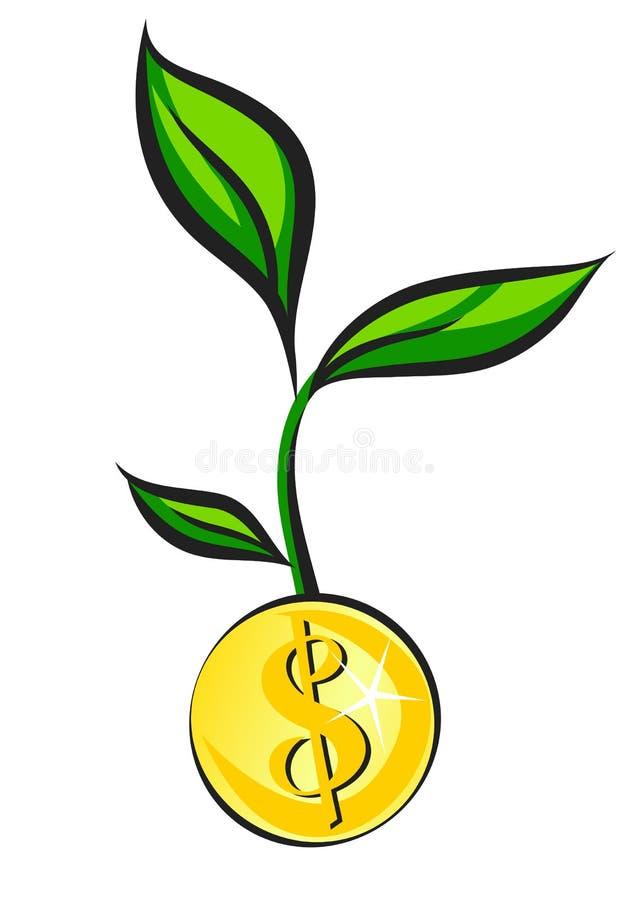 O broto do dinheiro cresce da moeda dourada, ilustração do vetor ilustração stock