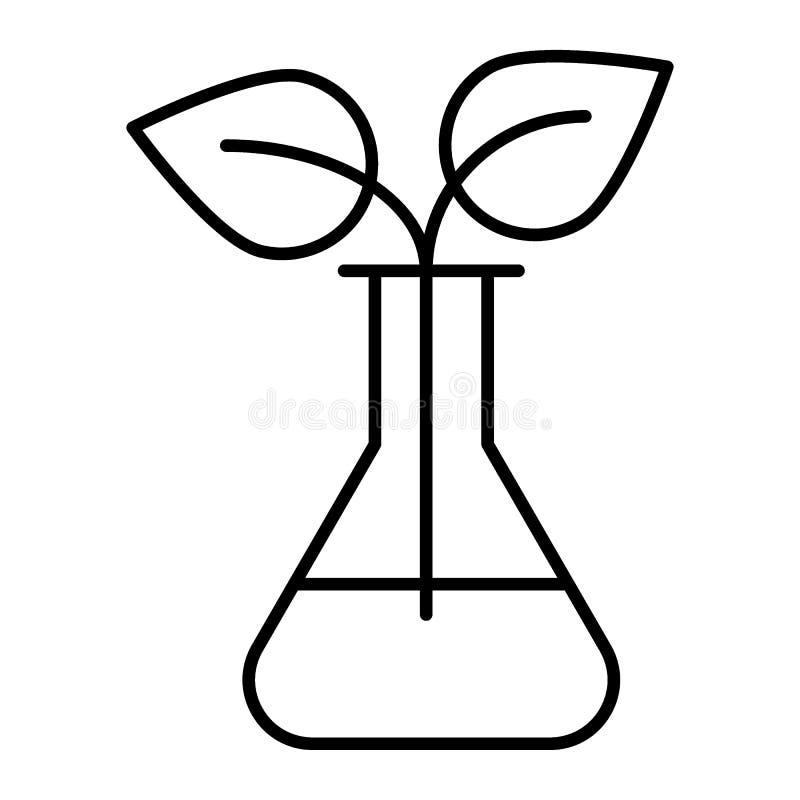 O broto em umas garrafas do laboratório dilui a linha ícone Garrafa do laboratório com a ilustração do vetor da planta isolada no ilustração royalty free