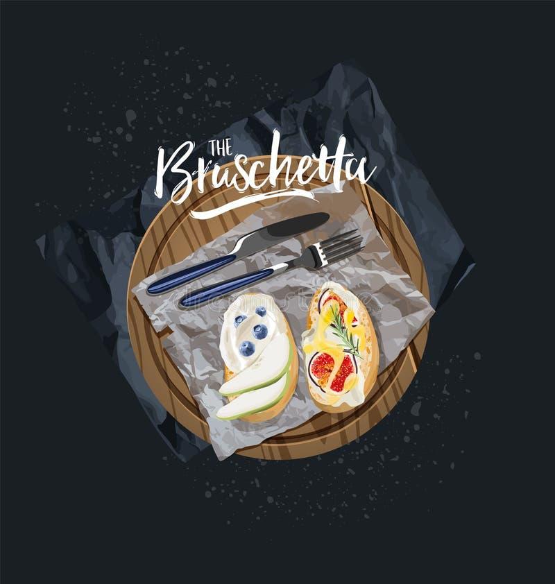 O bruschetta do vegetariano com mirtilos e os figos são servidos Gráficos de vetor ilustração royalty free