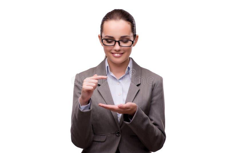 O bsuinesswoman que pressiona botões virtuais no branco fotografia de stock royalty free