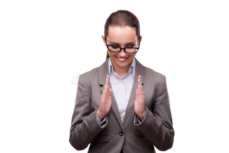O bsuinesswoman que pressiona os botões virtuais isolados no branco imagem de stock
