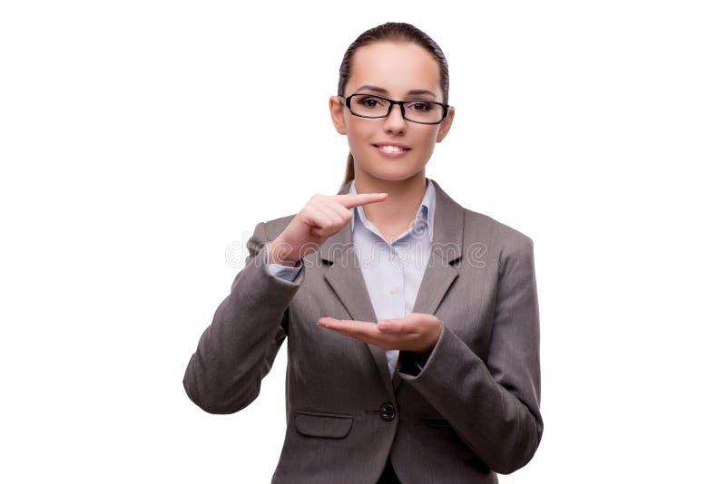 O bsuinesswoman que pressiona os botões virtuais isolados no branco fotos de stock royalty free