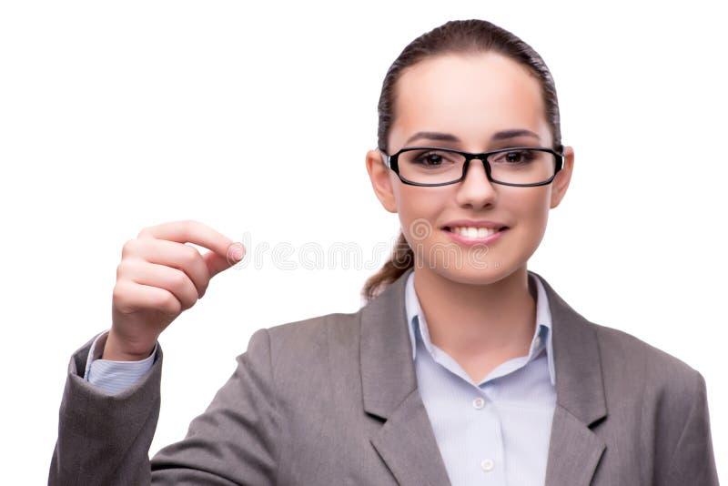 O bsuinesswoman que pressiona os botões virtuais isolados no branco imagens de stock