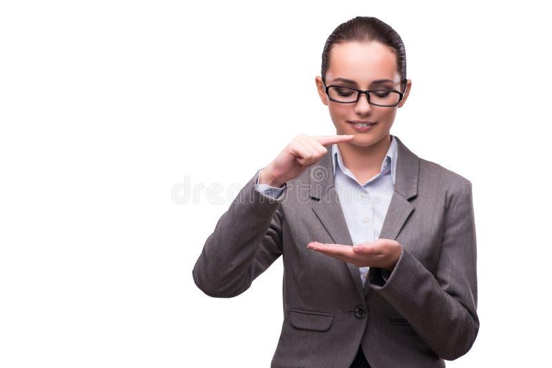 O bsuinesswoman que pressiona os botões virtuais isolados no branco fotografia de stock