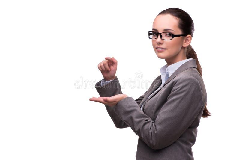 O bsuinesswoman que pressiona os botões virtuais isolados no branco fotos de stock