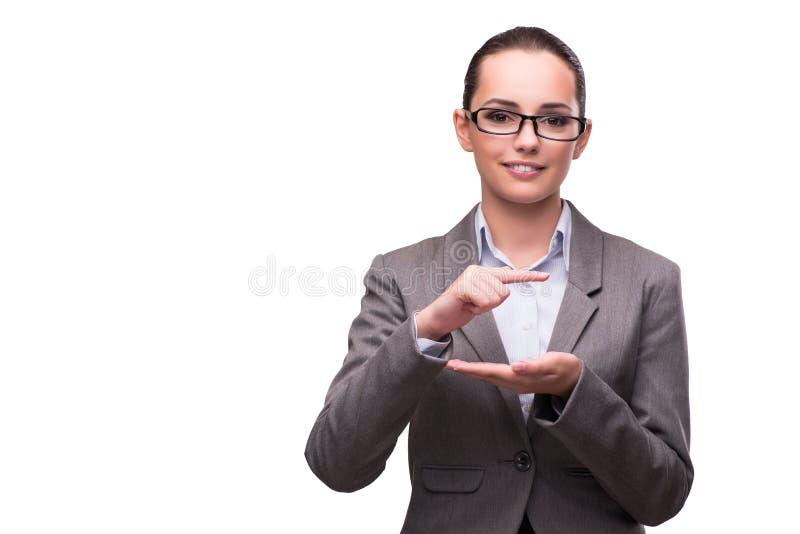 O bsuinesswoman que pressiona os botões virtuais isolados no branco fotografia de stock royalty free