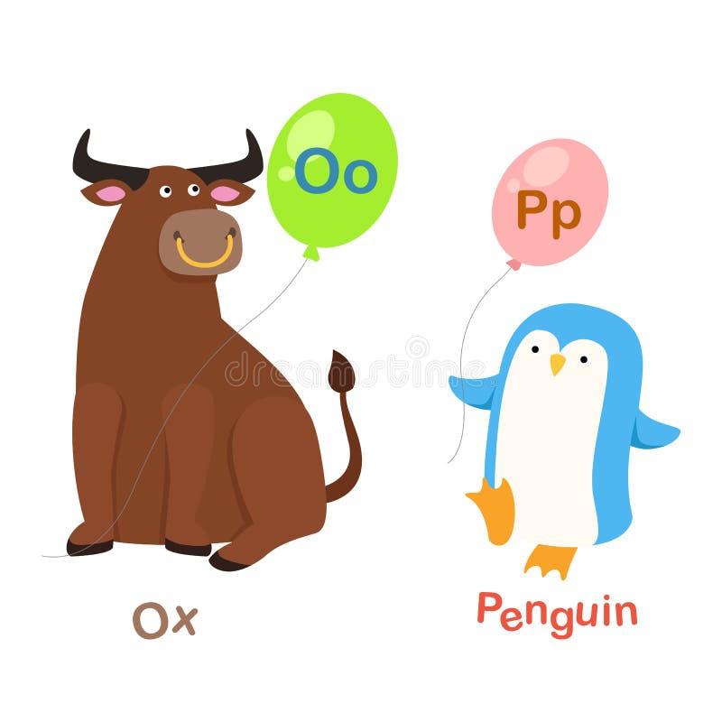 O-bue della lettera di alfabeto, P-pinguino illustrazione vettoriale