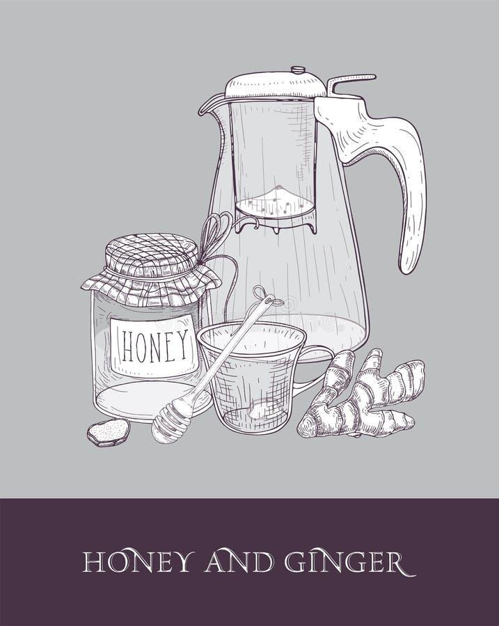 O bule ou o jarro de vidro elegante com filtro, copo do chá, frasco do mel, raiz do gengibre e dipper entregam tirado com contorn ilustração stock
