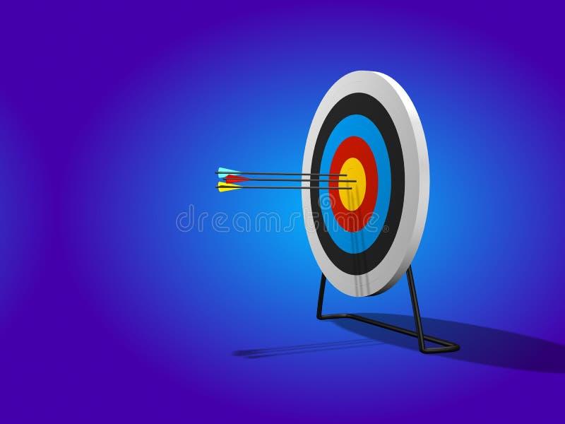 O Bullseye 3D rende ilustração do vetor