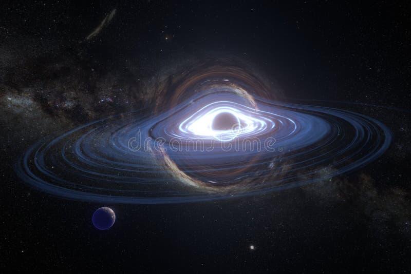 O buraco negro de órbita do planeta ilustração stock