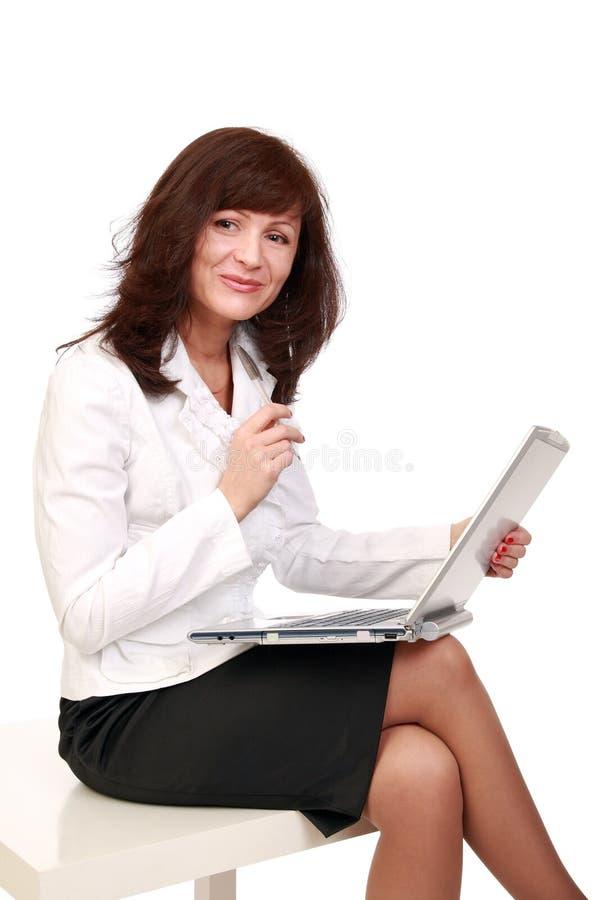 O business-woman alegre fotografia de stock royalty free