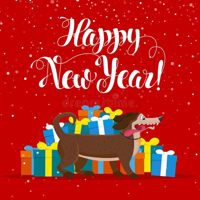 O cão amarelo é o símbolo chinês do zodíaco do ano novo 2018 Cachorrinho bonito do vetor no estilo dos desenhos animados ilustração stock