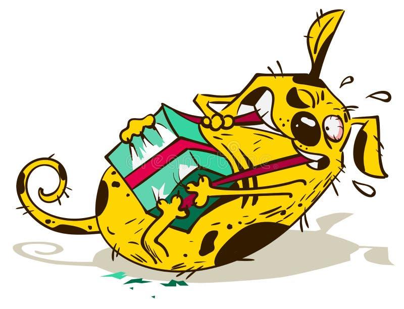 O cão amarelo do divertimento abre a caixa de presente do rasgo ilustração stock