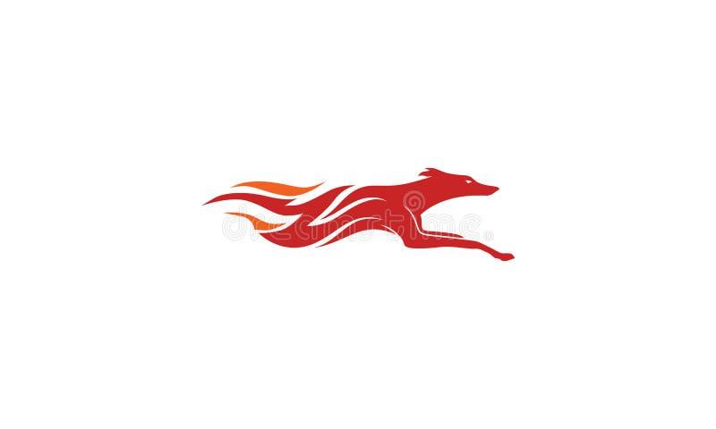 O cão ateia fogo rapidamente ao vetor do logotipo do swoosh ilustração royalty free