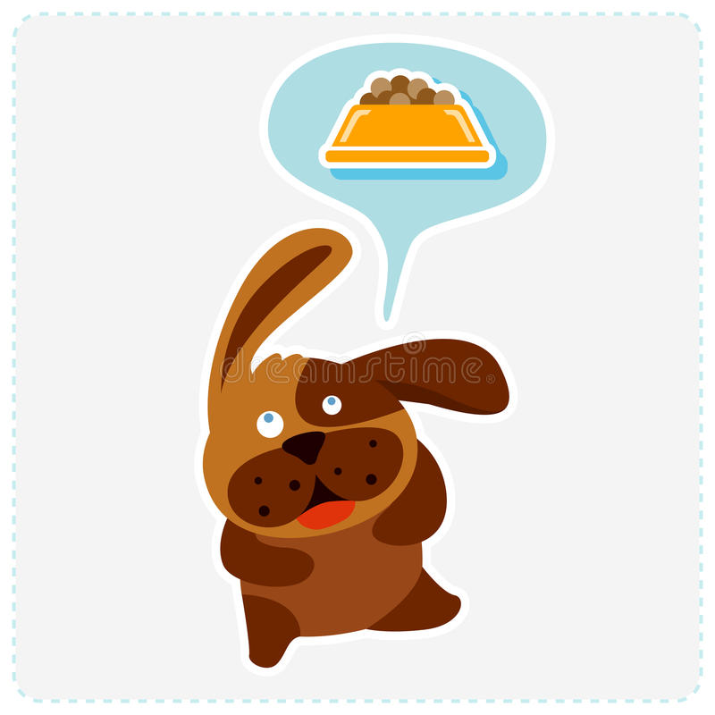 O cão bonito dos desenhos animados está pensando o alimento - vector a ilustração ilustração royalty free