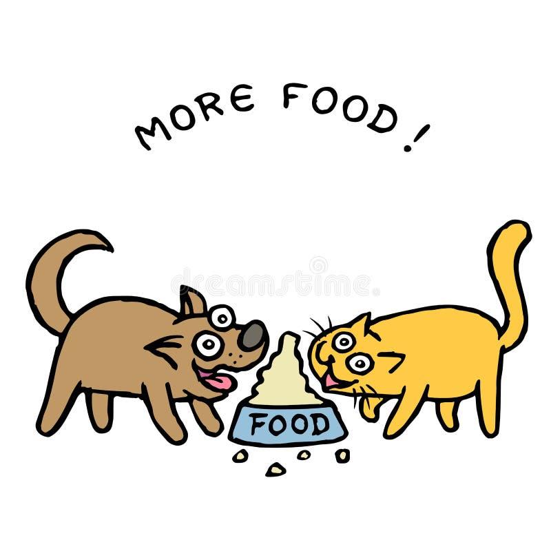 O cão bonito Kik e o gato Tik dividem o alimento de uma bacia Ilustração do vetor ilustração royalty free