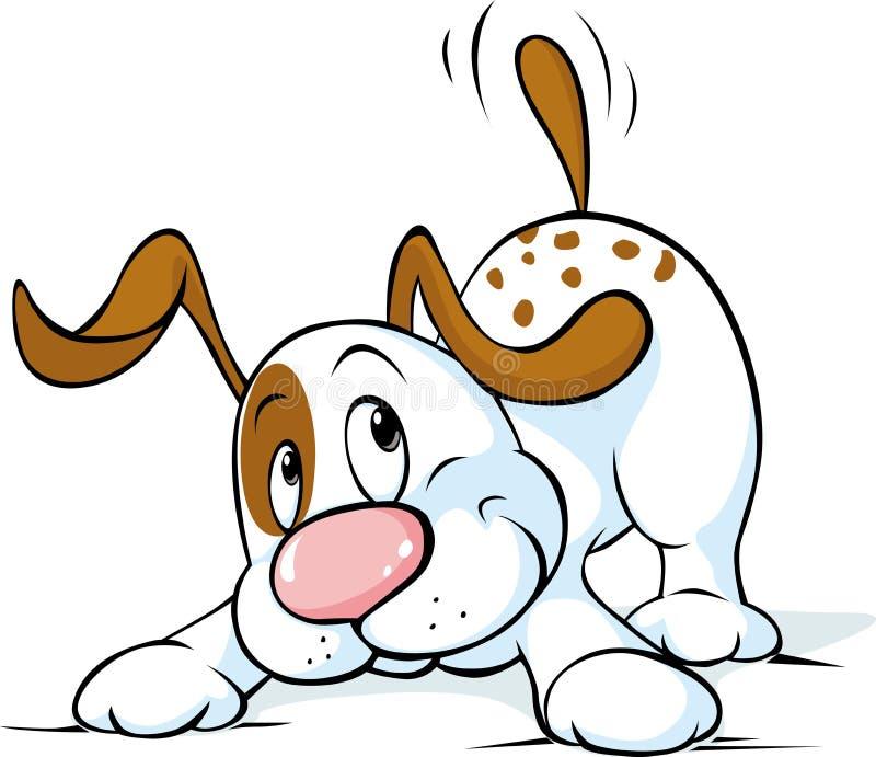 O cão bonito sacode sua cauda e quê-la jogar - o vetor ilustração do vetor