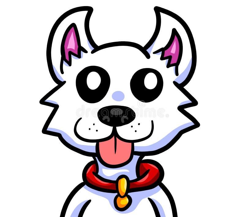 O cão branco bonito é excitado muito ilustração stock