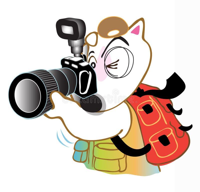 O cão bull terrier toma uma foto ilustração stock