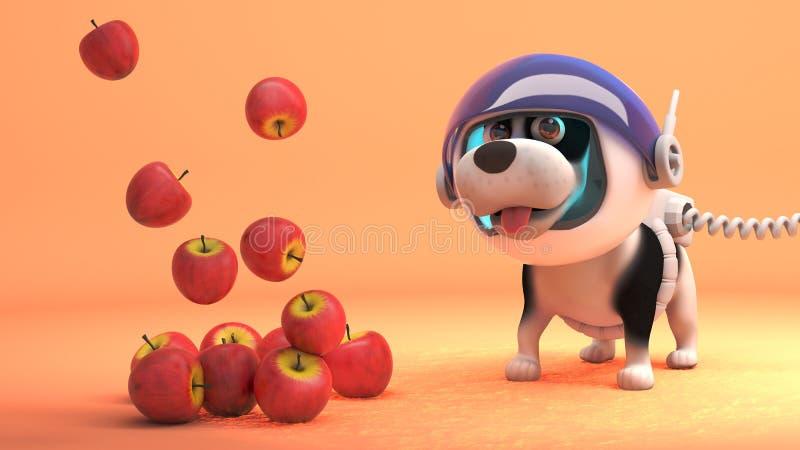 O cão de cachorrinho engraçado em Marte no spacesuit olha maçãs voar na gravidade zero, ilustração 3d ilustração royalty free